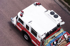Fire & Rescue. Ladder truck viewed from above Royalty Free Stock Photo