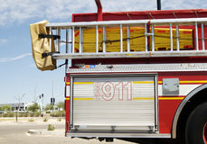 Fire & Rescue. Fire truck displaying 911 Stock Photography