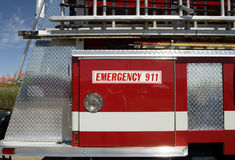 Fire & Rescue. Fire truck displaying 911 sign stock photos
