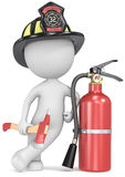 Fire and rescue. Dude the Firefighter holding an axe and fire extinguisher. US Black helmet Royalty Free Stock Photography