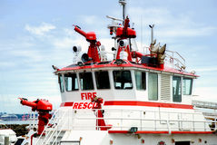 Fire Rescue Boat. Docked White and red Fire Rescue Boat Stock Photos