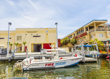 Fire rescue boat at waterfront side in Fort Lauderdale Royalty Free Stock Photos
