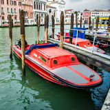 Fire rescue boats near the pier in Venice, Italy Stock Images
