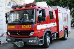 A fire rescue car. A fire rescue vehicle. International version. With clipping path Stock Photography