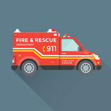 Fire rescue department emergency car. Vector red yellow color flat design fire department rescue emergency vehicle illustration  background Royalty Free Stock Images