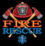 Fire Rescue Design. Is an illustration of vibrant text that says Fire and Rescue and includes a firefighter`s Maltese cross, rescue Star of Life symbol and Royalty Free Stock Images