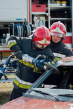 Fire and Rescue Emergency Units at car accident Royalty Free Stock Images