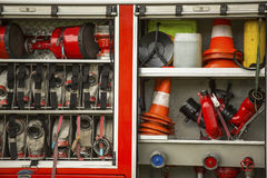 Fire and rescue Equipment in Fire Engine. Work. Royalty Free Stock Photos