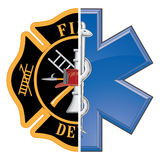 Fire and Rescue. Is an illustration of a combination firefighter symbol and a rescue symbol design in full color Stock Image