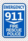 symbol 911 Fire Rescue Police Sign on transparent background vector illustration