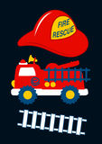Fire Rescue with red helmet and truck Stock Images