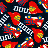 Fire Rescue with red helmet and truck seamless pattern Royalty Free Stock Image