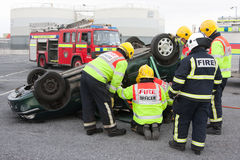 Fire and Rescue service at car crash training Stock Image
