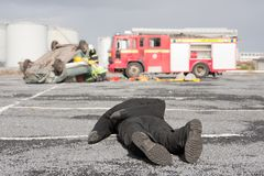 Fire and Rescue service staff at car crash Stock Image