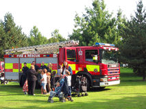 Fire and rescue tender at an outdoor event. Royalty Free Stock Photography