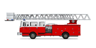 Fire Rescue Truck. Isolated on white background. 3D render Royalty Free Stock Photo