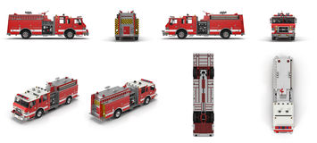 Fire Rescue Truck isolated on white. 3D Illustration Stock Images