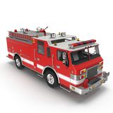 Fire Rescue Truck isolated on white. 3D illustration Stock Photography