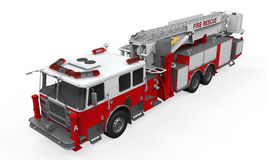 Fire Rescue Truck. On white background. 3D render Stock Photography