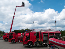 Fire and rescue trucks Stock Images