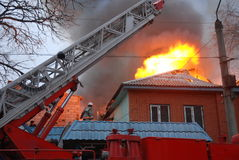 Fire in resident area, Astrakhan, Russia Stock Images
