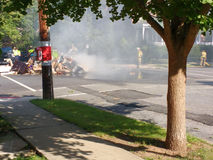 Fire in a Residential Neighborhood Royalty Free Stock Images
