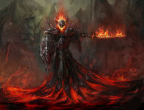 Fire revenant. Melting up from magma Royalty Free Stock Photos