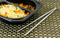 Fire rice with chopsticks Royalty Free Stock Photography
