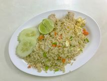 Fire rice with pork in thai food stock image