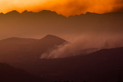 The Fire On The Ridge Stock Photos