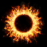 Fire Ring In The Dark. Burning Concept Stock Photography