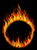 Fire ring. Hand drawn circus fire ring on black background. Symbol of dangerous fun. Digital art Royalty Free Stock Photo