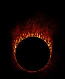 Fire Ring with smoke. In black background Royalty Free Stock Photos