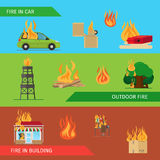 Fire risk horizontal headers. Or colorful banners. Vector illustration Royalty Free Stock Photo