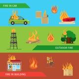 Fire risk horizontal headers vector illustration