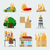 Fire risk icons. Fire in home and building, forgot fire vector signs for insurance and fire safety infographic Royalty Free Stock Photo