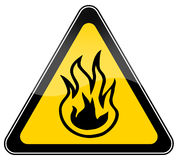 Fire risk sign. Combustible material warning sign over white Stock Image