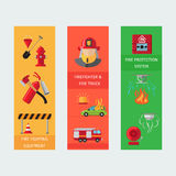 Fire risk vertical flyers. Fire protection,equipment and transport, Vector illustration Royalty Free Stock Images
