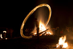 Fire ritual Sirni Zagovezni before Easter Royalty Free Stock Photography