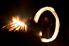 Fire ritual Sirni Zagovezni before Easter Stock Photo