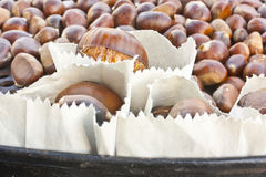 Fire roasting chestnuts Stock Photos