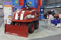 Fire robot. NIZHNY TAGIL, RUSSIA - SEP 25, 2013: The international exhibition of armament, military equipment and ammunition RUSSIA ARMS EXPO (RAE-2013). Fire Stock Images