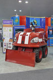 Fire robot. NIZHNY TAGIL, RUSSIA - SEP 25, 2013: The international exhibition of armament, military equipment and ammunition RUSSIA ARMS EXPO (RAE-2013). Fire Royalty Free Stock Photography