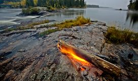 Fire on Rock Northern Canada. Wilderness Manitoba Stock Photo