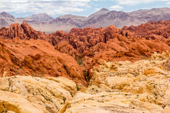Fire Rocks. The beginning of a canyon amongst the fire rocks at the Valley of Fire State Park outside of Las Vegas Nevada Stock Photo