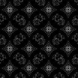 Fire Rooster 2017, Chinese New year seamless pattern. Fire Rooster 2017, China New year, seamless pattern, black and white stock illustration