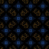 Fire Rooster 2017, Chinese New year seamless pattern. Fire Rooster 2017, China New year, seamless pattern. Gold, dark blue and black color vector illustration