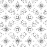 Fire Rooster 2017, Chinese New year seamless pattern. Fire Rooster 2017, China New year, seamless pattern. Gray and white vector illustration