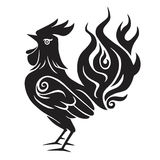Fire Rooster Chinese New Year Symbol 2017. Black and White Clip Art Royalty Free Stock Photo