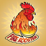 Fire Rooster 2. Creative Vector illustration of New Year's symbols: Fire Rooster in the style of comics and cartoons. Image stylized logo, a symbol or a sign Royalty Free Stock Photography